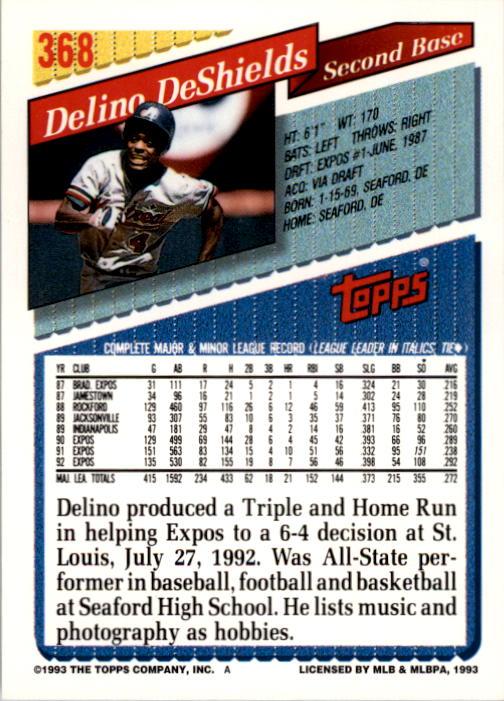 1993 Topps #368 Delino DeShields back image
