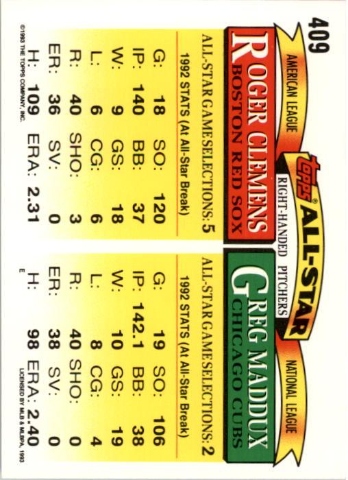 1993 Topps #409 Greg Maddux/Roger Clemens AS back image