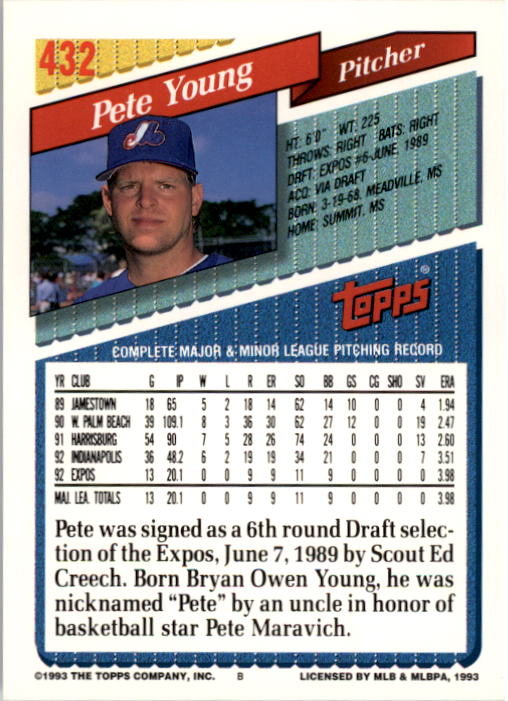 1993 Topps #432 Pete Young back image