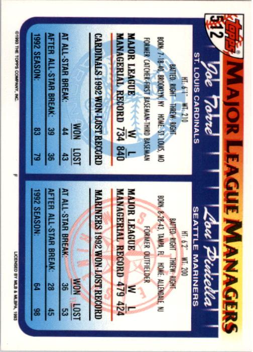 1993 Topps #512 Lou Piniella MG/Joe Torre MG back image