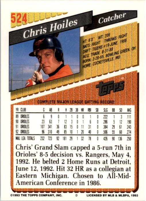 1993 Topps #524 Chris Hoiles back image