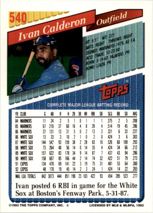 1993 Topps #540 Ivan Calderon back image