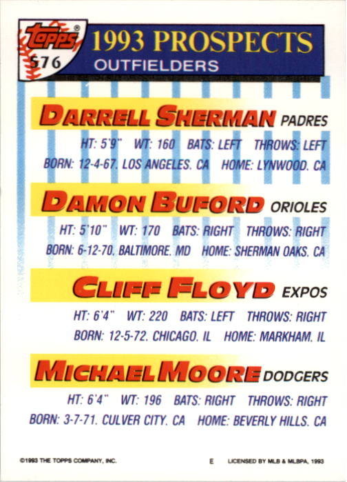 1993 Topps #576 Darrell Sherman/Damon Buford/Cliff Floyd/Michael Moore back image