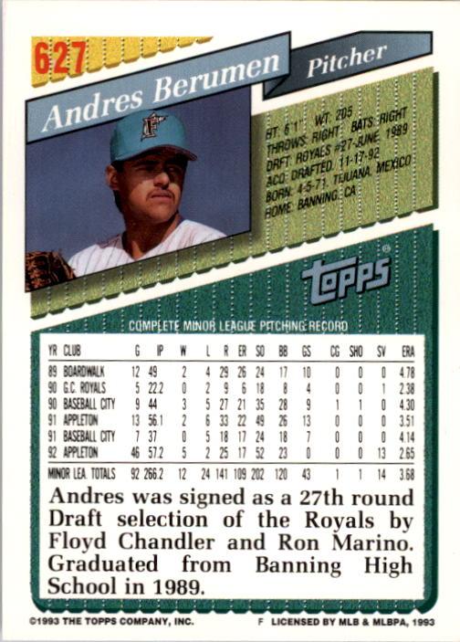 1993 Topps #627 Andres Berumen RC back image