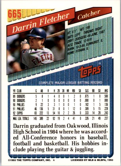 1993 Topps #665 Darrin Fletcher back image