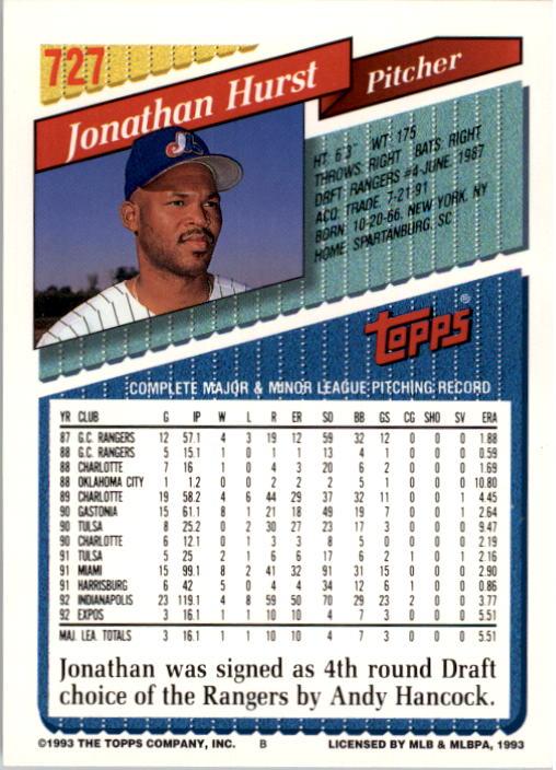 1993 Topps #727 Jonathan Hurst back image