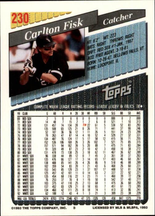 1993 Topps Gold #230 Carlton Fisk back image