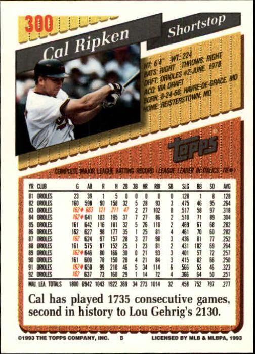 1993 Topps Gold #300 Cal Ripken back image