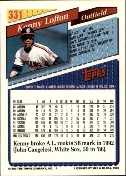 1993 Topps Gold #331 Kenny Lofton back image