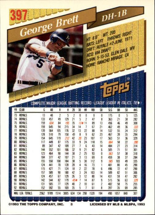 1993 Topps Gold #397 George Brett back image