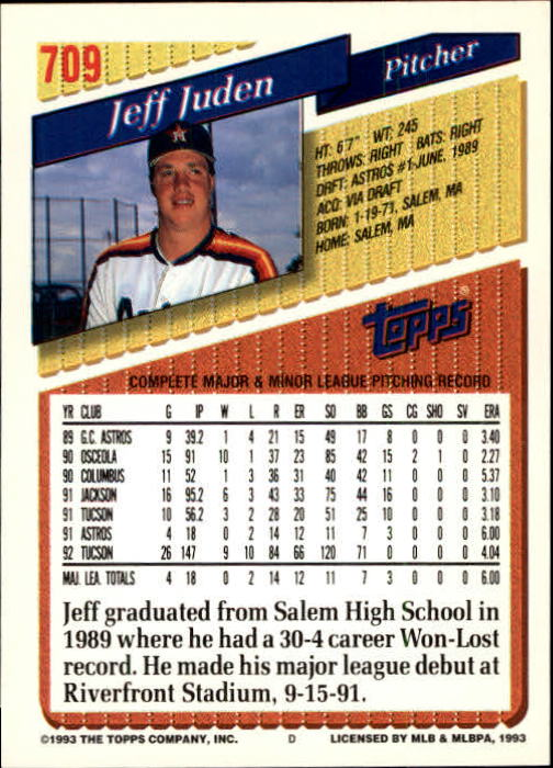 1993 Topps Gold #709 Jeff Juden back image