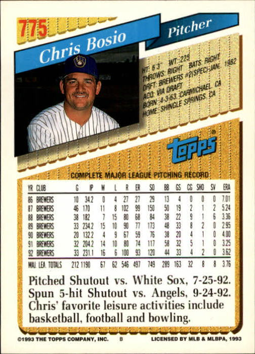 1993 Topps Gold #775 Chris Bosio back image