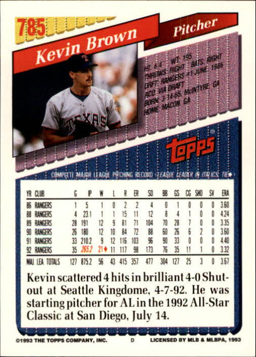 1993 Topps Gold #785 Kevin Brown back image