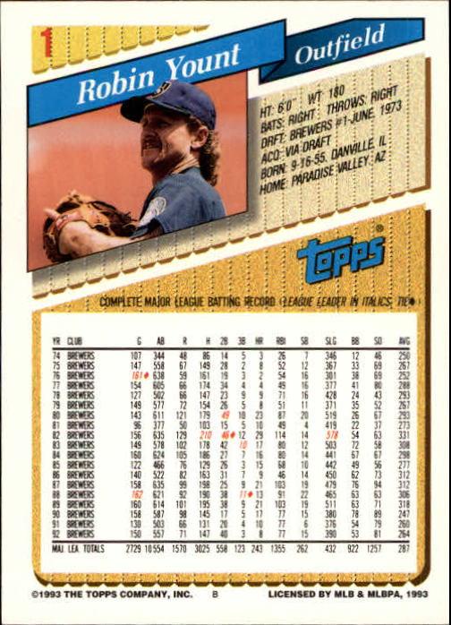 1993 Topps Inaugural Marlins #1 Robin Yount back image