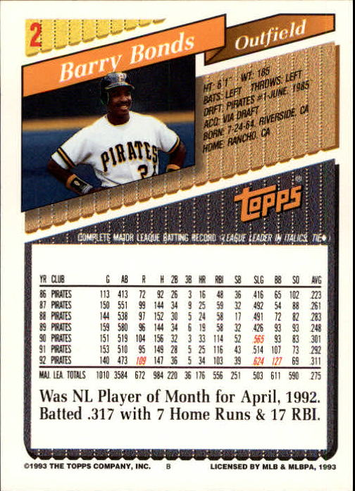 1993 Topps Inaugural Marlins #2 Barry Bonds back image