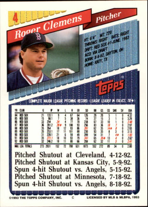 1993 Topps Inaugural Marlins #4 Roger Clemens back image