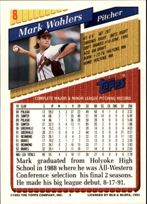 1993 Topps Inaugural Marlins #8 Mark Wohlers back image