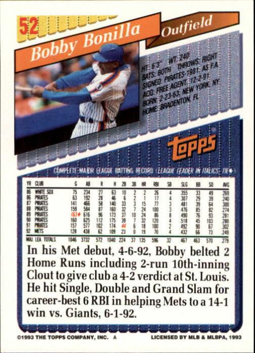1993 Topps Inaugural Marlins #52 Bobby Bonilla back image