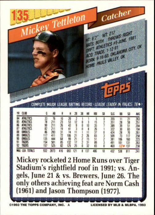 1993 Topps Inaugural Marlins #135 Mickey Tettleton back image