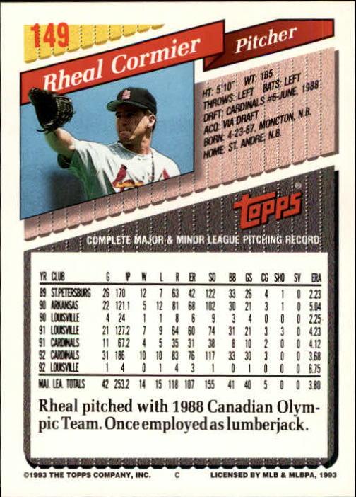 1993 Topps Inaugural Marlins #149 Rheal Cormier back image