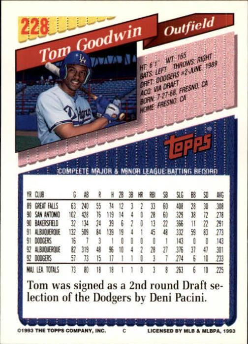 1993 Topps Inaugural Marlins #228 Tom Goodwin back image