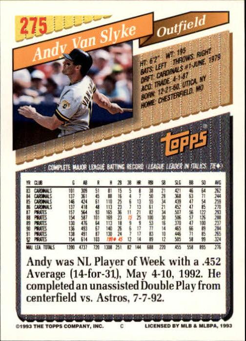 1993 Topps Inaugural Marlins #275 Andy Van Slyke back image