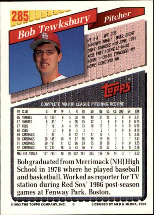 1993 Topps Inaugural Marlins #285 Bob Tewksbury back image