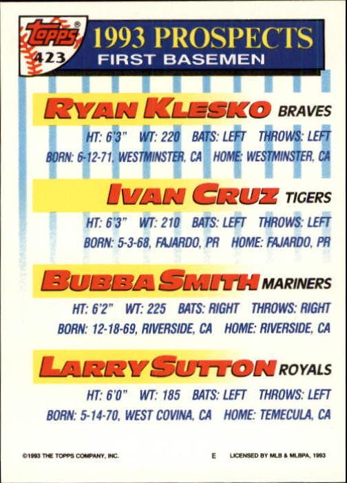 1993 Topps Inaugural Marlins #423 Ryan Klesko/Ivan Cruz/Bubba Smith/Larry Sutton back image