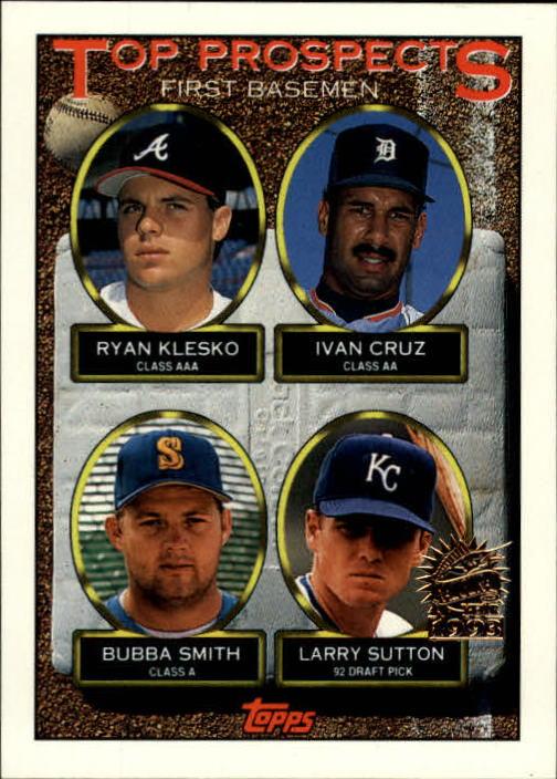 1993 Topps Inaugural Marlins #423 Ryan Klesko/Ivan Cruz/Bubba Smith/Larry Sutton