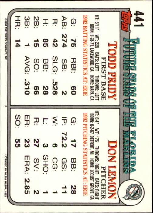 1993 Topps Inaugural Marlins #441 Don Lemon/Todd Pridy back image