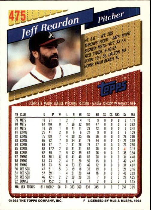 1993 Topps Inaugural Marlins #475 Jeff Reardon back image