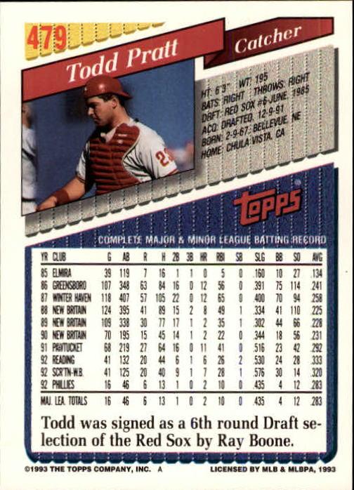 1993 Topps Inaugural Marlins #479 Todd Pratt back image