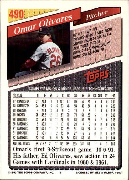 1993 Topps Inaugural Marlins #490 Omar Olivares back image