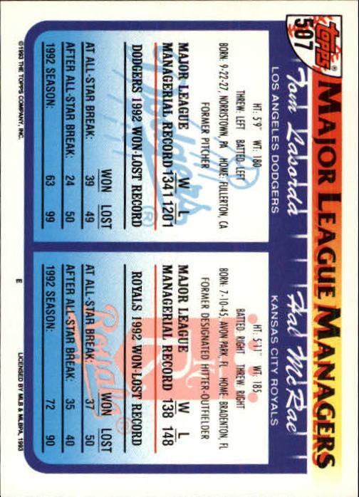1993 Topps Inaugural Marlins #507 Hal McRae MG/Tom Lasorda MG back image