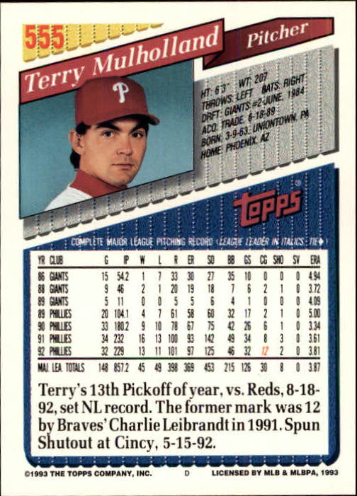 1993 Topps Inaugural Marlins #555 Terry Mulholland back image