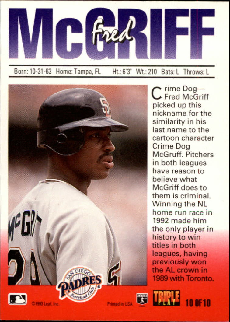 1993 Triple Play Nicknames 10 Fred Mcgriffcrime Dog Nm Mt