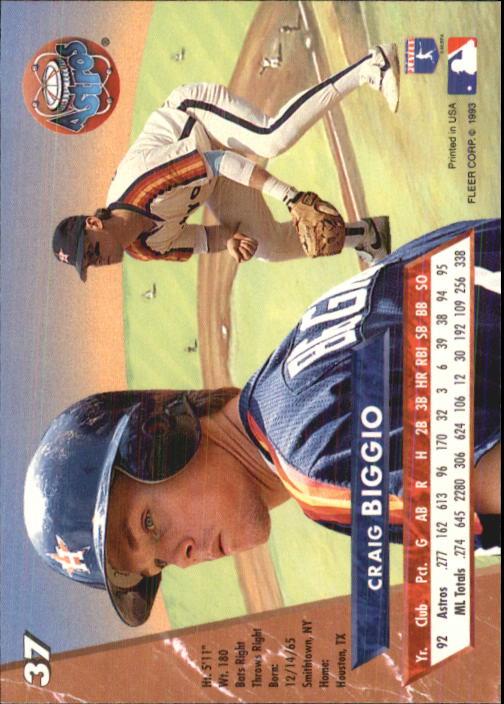 1993 Ultra #37 Craig Biggio back image