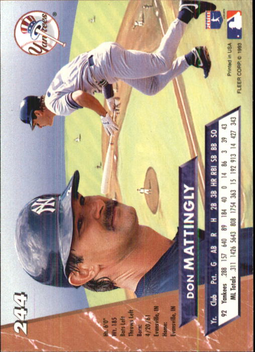 1993 Ultra #244 Don Mattingly back image