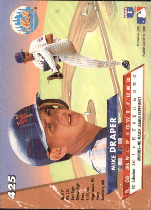 1993 Ultra #425 Mike Draper back image