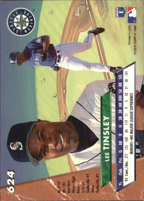 1993 Ultra #624 Lee Tinsley back image
