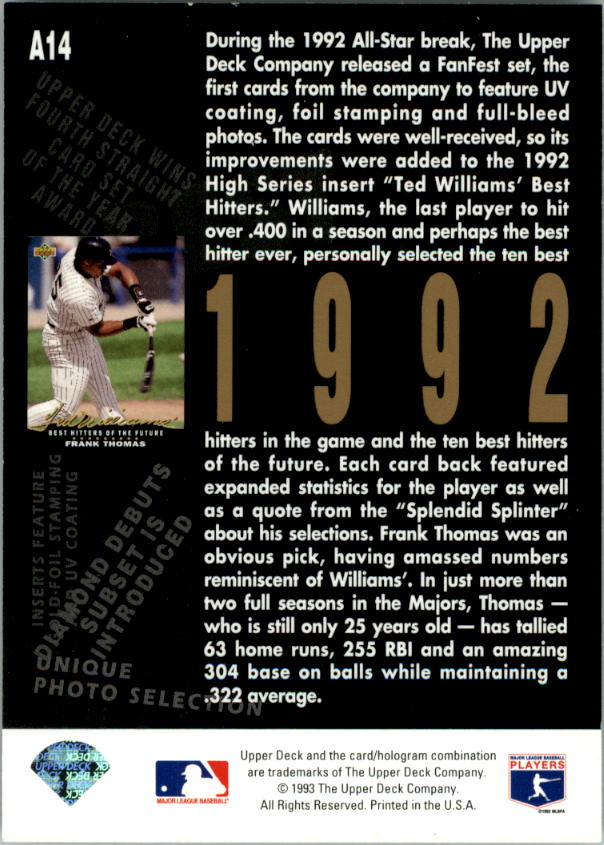 1993 Upper Deck Fifth Anniversary #A14 Frank Thomas back image
