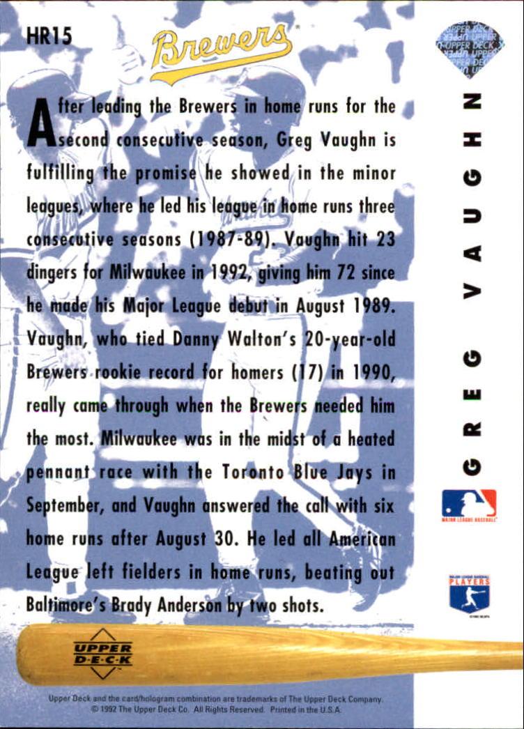1993 Upper Deck Home Run Heroes #HR15 Greg Vaughn back image