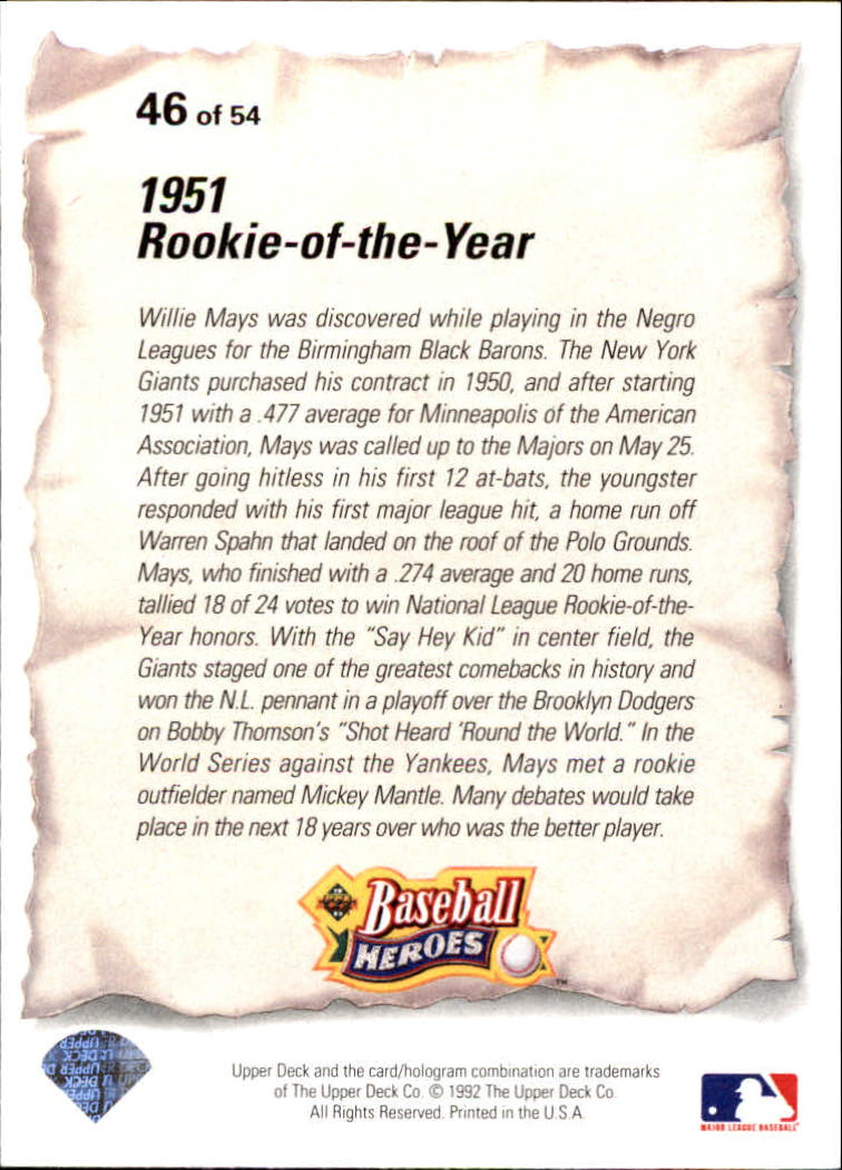 1993 Upper Deck Mays Heroes #46 1951 Rookie-of-the-Year back image