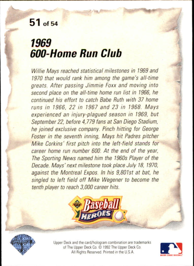 1993 Upper Deck Mays Heroes #51 1969 600-Home Run Club back image