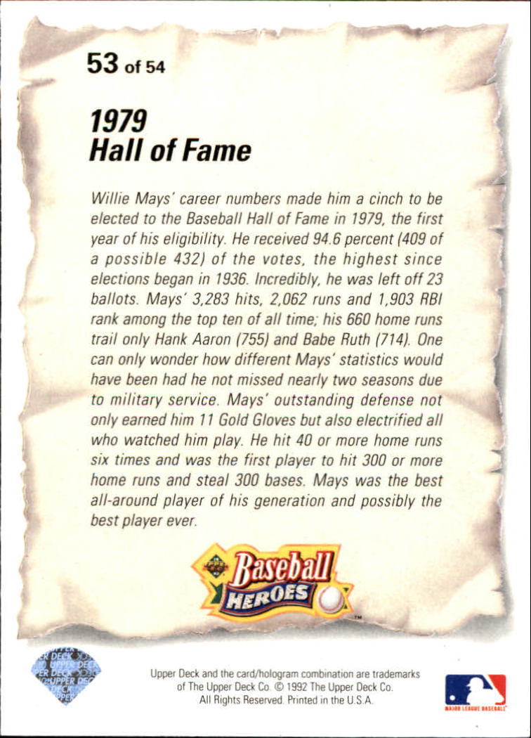 1993 Upper Deck Mays Heroes #53 1979 Hall of Fame back image