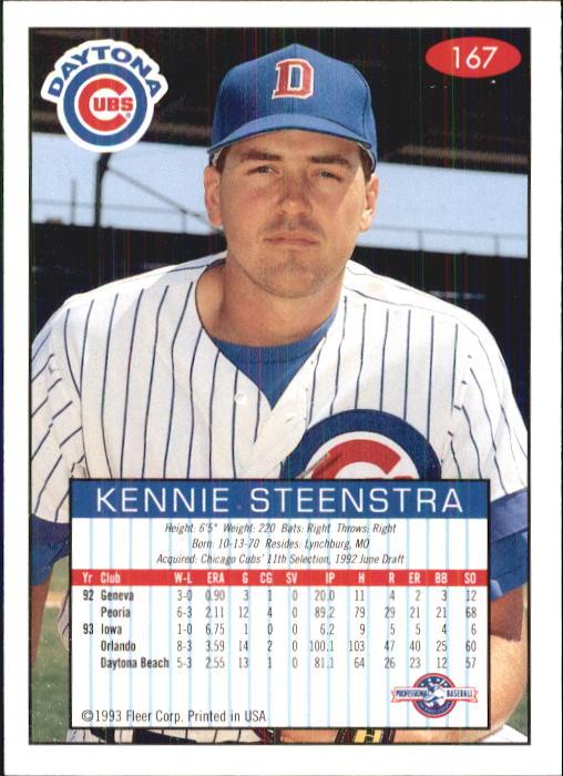 1993-94 Excel #167 Kennie Steenstra back image
