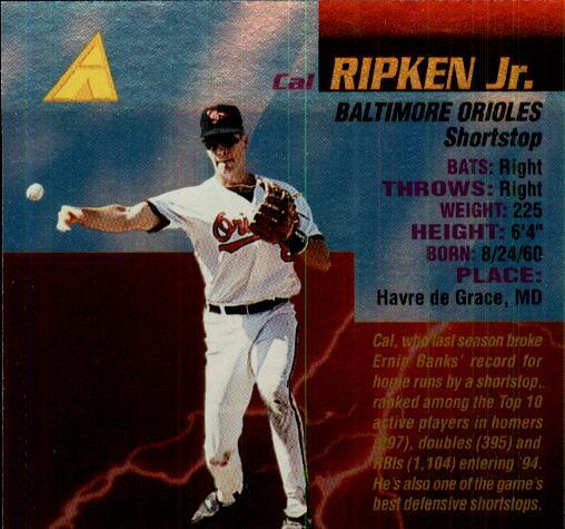 1994 Pinnacle The Naturals #23 Cal Ripken back image