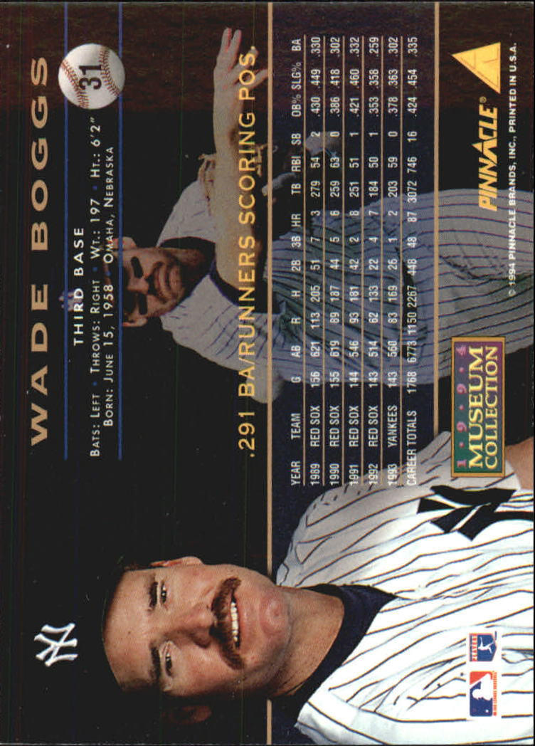 1994 Pinnacle Museum Collection #31 Wade Boggs back image