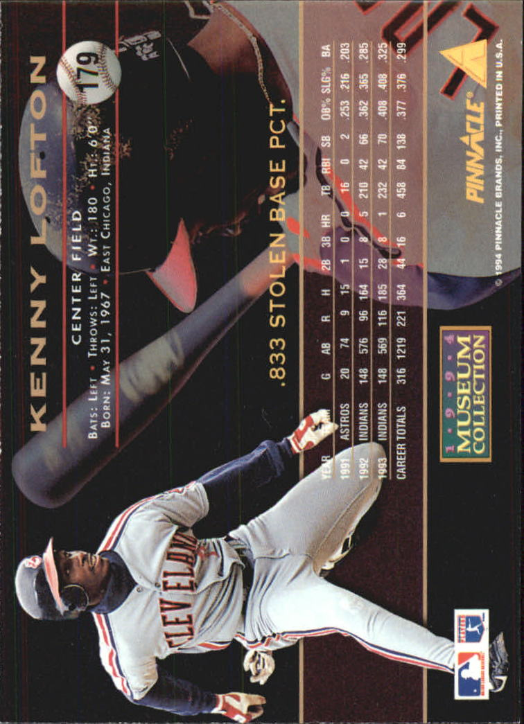 1994 Pinnacle Museum Collection #179 Kenny Lofton back image