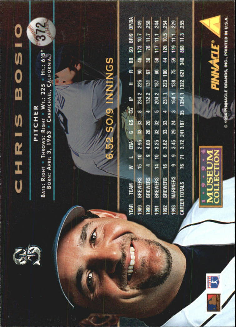1994 Pinnacle Museum Collection #372 Chris Bosio back image
